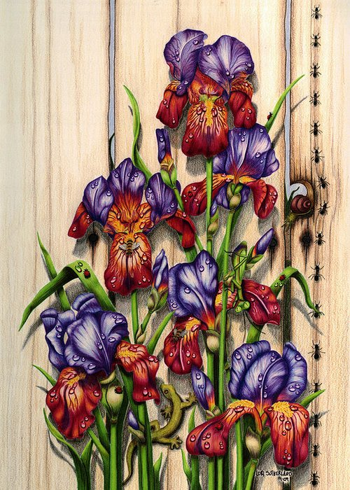 Colored Pencil Greeting Card featuring the painting Garden Camouflage by Lori Sutherland