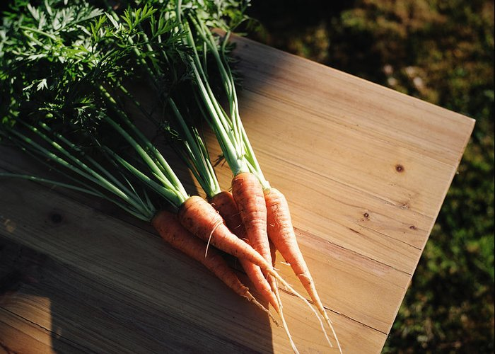 Five Objects Greeting Card featuring the photograph Garden Carrots On Sunny Stool by Danielle D. Hughson