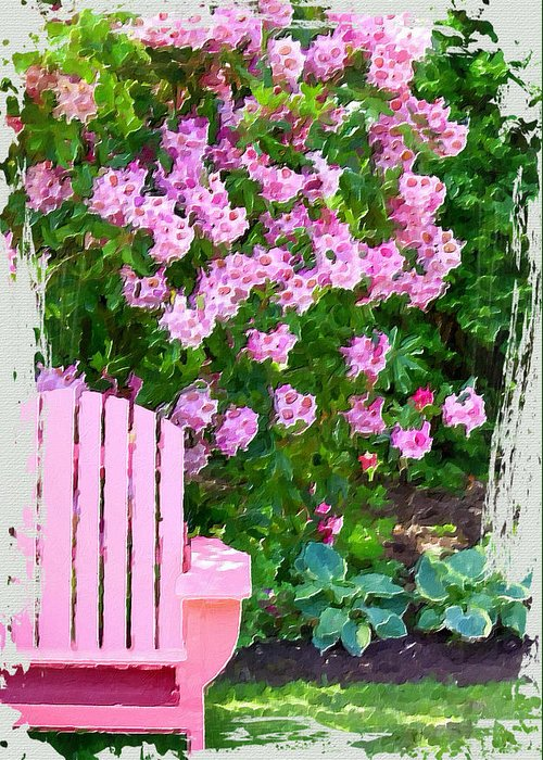 Painting Greeting Card featuring the painting Garden Chair by Bonnie Bruno