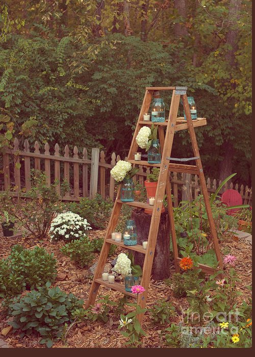 Ladder Greeting Card featuring the photograph Garden Decorations by Kay Pickens