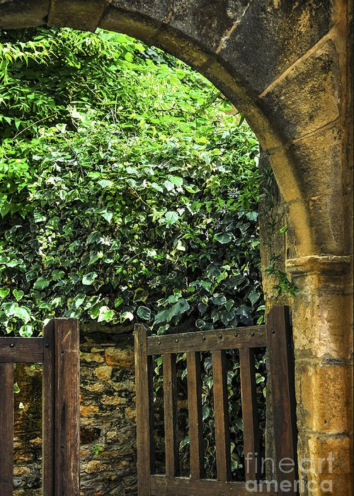 Sarlat Greeting Card featuring the photograph Garden Gate In Sarlat by Elena Elisseeva