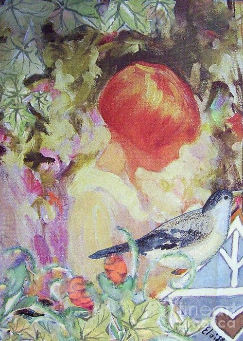 Collage Greeting Card featuring the painting Garden Girl - Antique Collage by Eloise Schneider