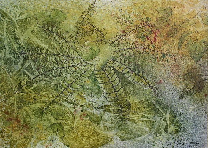 Mystical Landscape Greeting Card featuring the painting Garden Mist by Patsy Sharpe