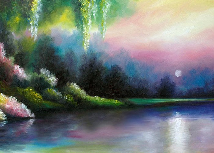 Sunrise Greeting Card featuring the painting Garden of Eden I by James Christopher Hill
