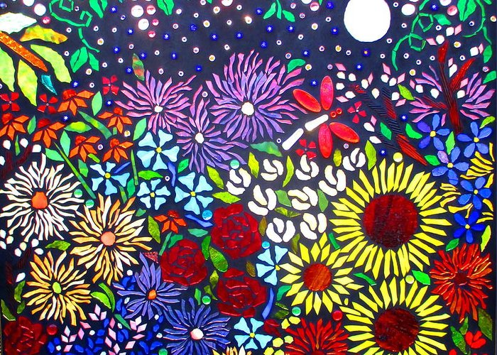 Flowers Greeting Card featuring the glass art Garden Of Evening by Lisa Anderson