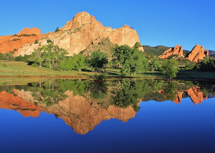 Garden Of The Gods Greeting Card featuring the photograph Garden Of The Gods Reflecting by Diane Alexander