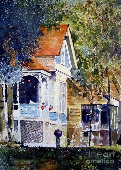 A Victorian House In Eureka Springs Greeting Card featuring the painting Garden Orb by Monte Toon