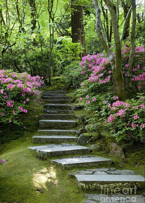 Japanese Garden Greeting Card featuring the photograph Garden Pathway by Brian Jannsen