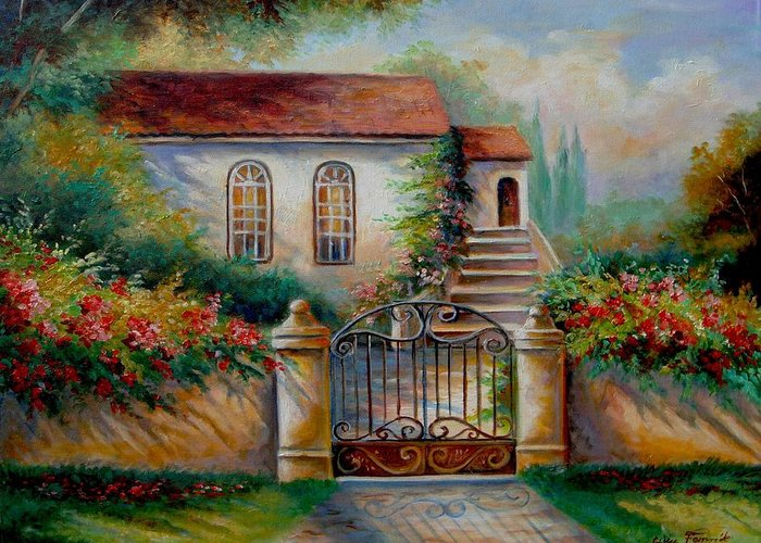Garden Scene With Villa And Gate Greeting Cards