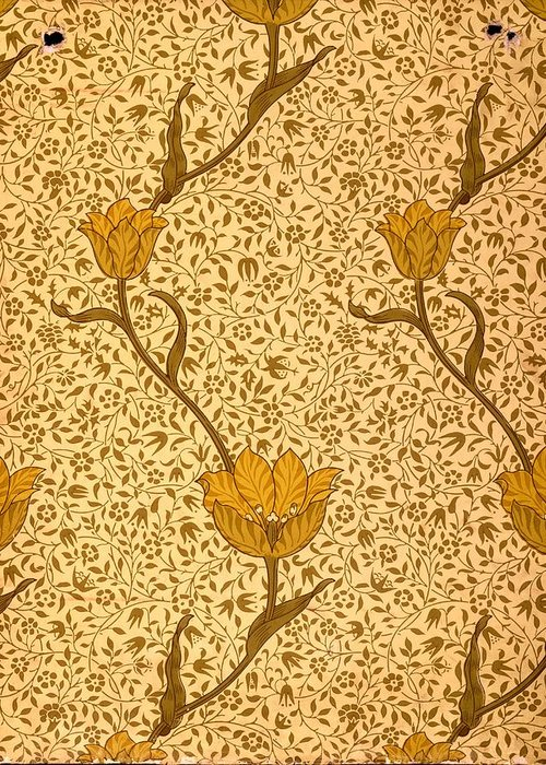 Lime Green Greeting Card featuring the tapestry - textile Garden Tulip Wallpaper Design by William Morris