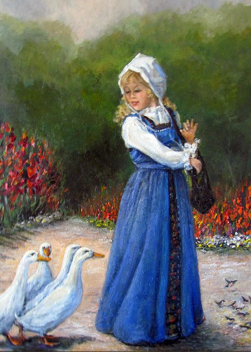 Nature Greeting Card featuring the painting Garden Visitors by Donna Tucker