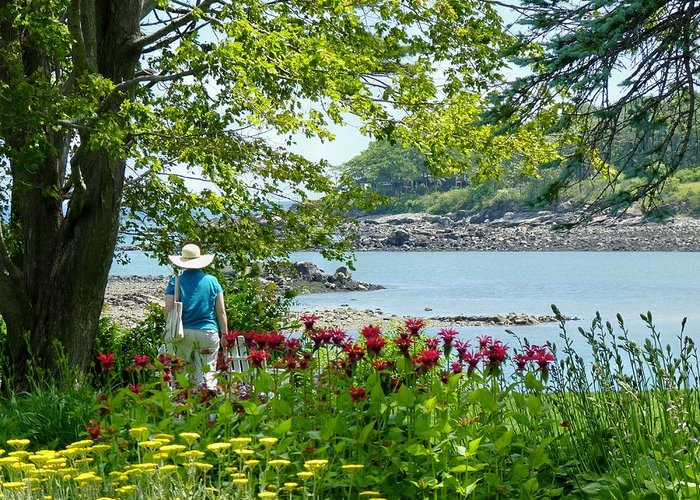 Lady In A Flower Garden Along The Shore Of York Harbor Me! Greeting Card featuring the photograph Garden Walk by Elaine Franklin