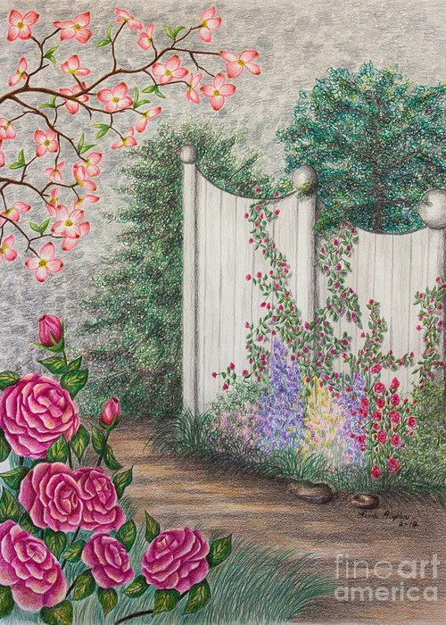 Color Pencil Greeting Card featuring the drawing Garden Walkway by Lena Auxier