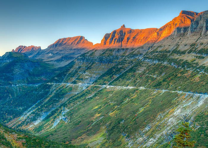 Logan Pass Greeting Card featuring the photograph Garden Wall Sunset by Brenda Jacobs