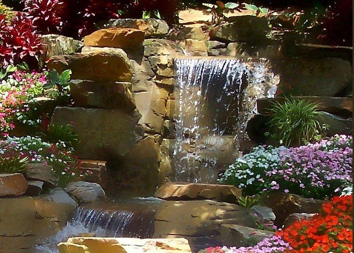 Garden Greeting Card featuring the photograph Garden Waterfalls by Pharris Art