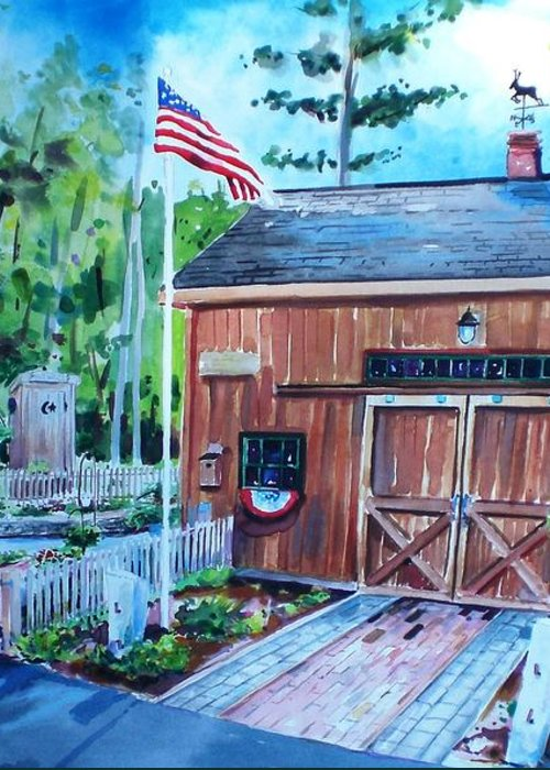 Shed Greeting Card featuring the painting Gardening Shed by Scott Nelson