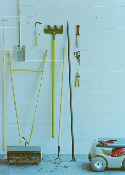 Home Greeting Card featuring the photograph Gardening Tools by Romulo Yanes