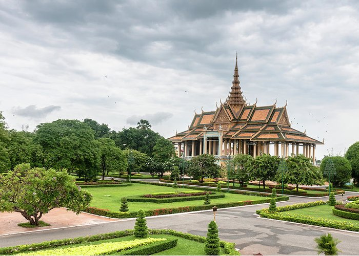 Southeast Asia Greeting Card featuring the photograph Gardens At The Royal Palace In Phnom by Tbradford