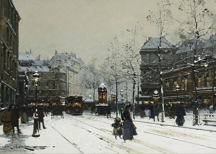 Child Greeting Card featuring the painting Gare Du Nord Paris by Eugene Galien-Laloue