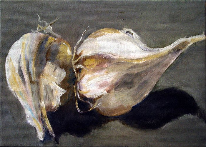 Still-life Greeting Card featuring the painting Garlic by Sarah Lynch