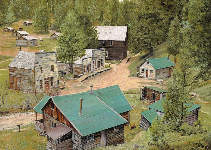 Ghost Town Greeting Card featuring the painting Garnet In Montana by Guido Borelli