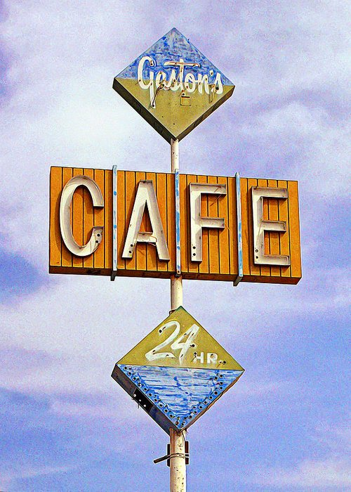 Niland Greeting Card featuring the photograph Gaston's Cafe by Ron Regalado