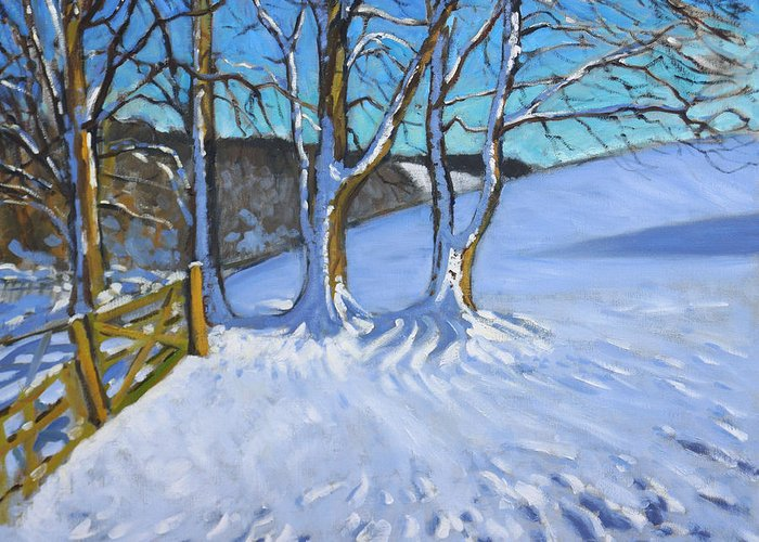 Gate Greeting Card featuring the painting Gate And Trees Winter Dam Lane Derbyshire by Andrew Macara