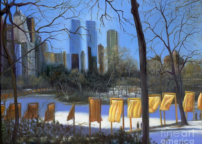 Landscape Greeting Card featuring the painting Gates Of New York by Marlene Book