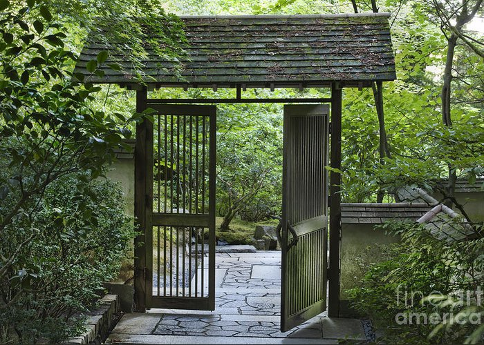 Gates Greeting Card featuring the photograph Gates Of Tranquility by Sandra Bronstein
