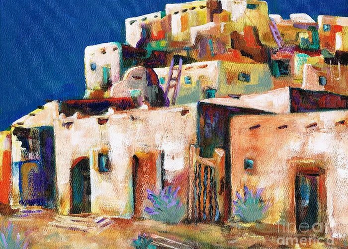Adobe Greeting Card featuring the painting Gateway Into The Pueblo by Frances Marino