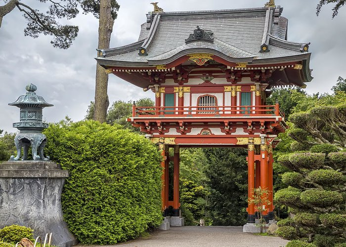 3scape greeting card featuring the photograph gateway japanese tea garden golden gate park by - Golden Gate Park Japanese Tea Garden