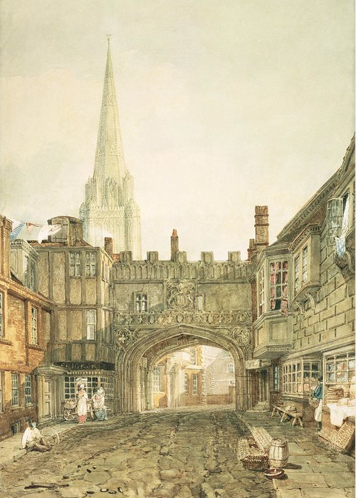 45 6x31 5cm Greeting Card featuring the painting Gateway To The Close, Salisbury by Joseph Mallord William Turner