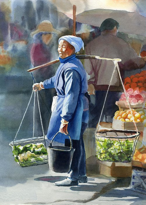 Chinese Woman Watercolor Greeting Cards