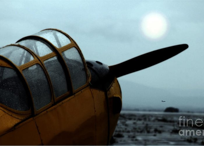 Airplanes Greeting Card featuring the photograph Gathering Rain Dust - Pt-26 Harvest Yellow by Steven Digman