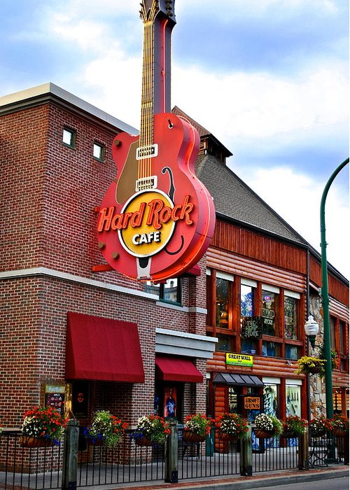 Hard Greeting Card featuring the photograph Gatlinburg Hard Rock Cafe by Frozen in Time Fine Art Photography