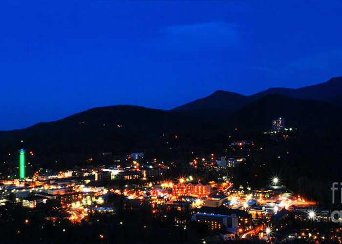 Gatlinburg Greeting Card featuring the photograph Gatlinburg Skyline At Night by Nancy Mueller