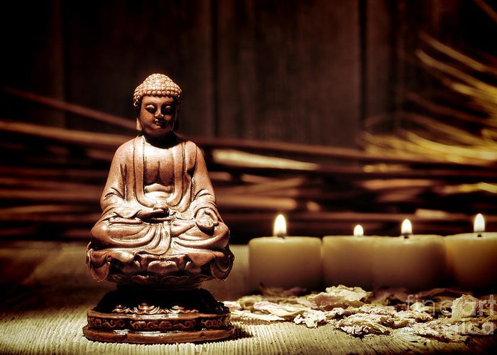 Meditation Greeting Card featuring the photograph Gautama Buddha by Olivier Le Queinec