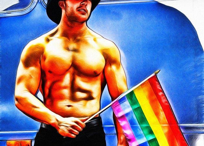 Gay Greeting Card featuring the digital art Gay Pride by Nishanth Gopinathan