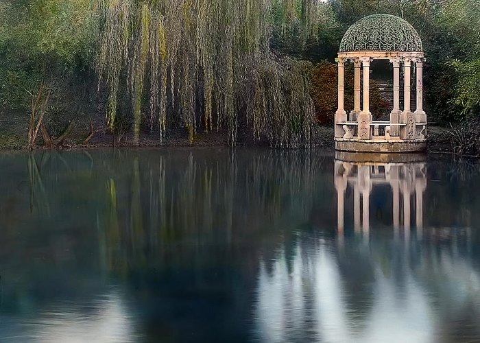 Tranquil Greeting Card featuring the photograph Gazebo And Lake by Terry Reynoldson