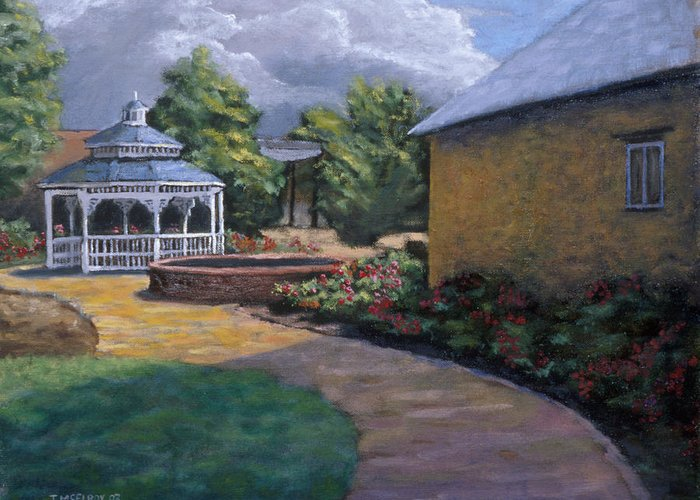 Potter Greeting Card featuring the painting Gazebo In Potter Nebraska by Jerry McElroy