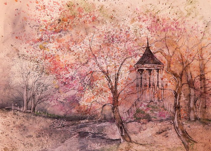 Gazebo Greeting Card featuring the painting Gazebo In Red by Anna Sandhu Ray
