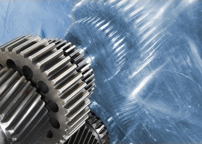 Gears Greeting Card featuring the photograph Gears Industrial Engineering In Blue by Christian Lagereek