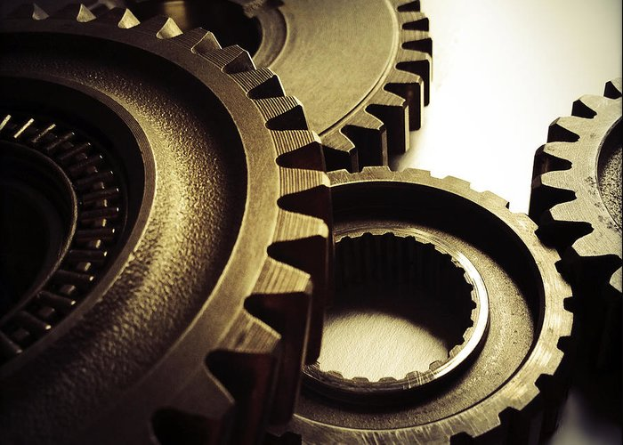 Gearing Greeting Card featuring the photograph Gears by Les Cunliffe
