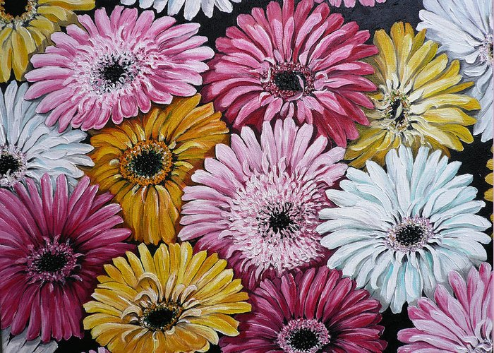 Flower Paintings Daisy Paintings Floral Paintings Blooms Color .gerbera Daisy Paintings Greeting Card Painting S Canvas Painting Poster Print Paintings Greeting Card featuring the painting Gebera Daisies by Karin Dawn Kelshall- Best