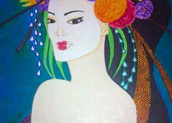 Geisha Greeting Card featuring the painting Geisha 3 by Marissa Gullaba