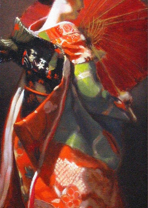 Geisha Greeting Card featuring the painting Geisha Girl With Red Umbrella by Takayuki Harada