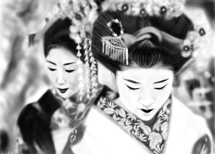 Ipad Greeting Card featuring the painting Geisha No.160 by Yoshiyuki Uchida