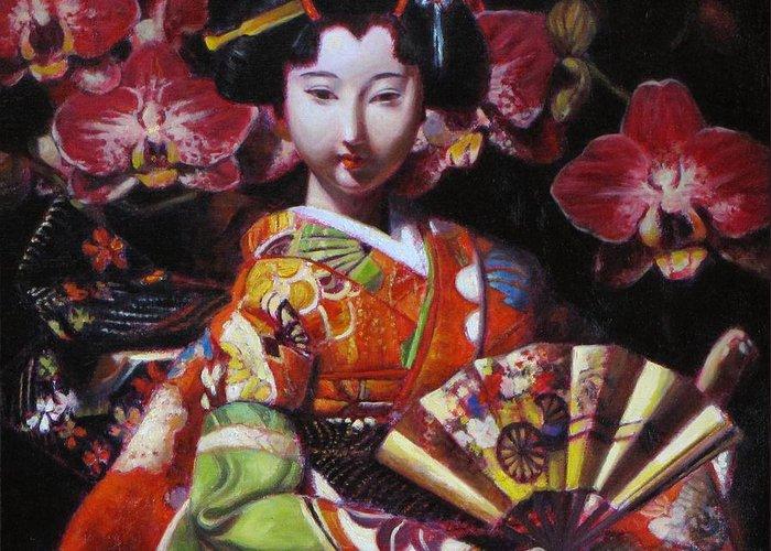 Geisha Painting Greeting Card featuring the painting Geisha With Orchids by Takayuki Harada