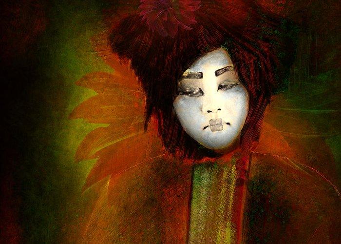 Giesha; Japan; Flower; Dalia; Abstract Reality; Imagesfx; Jeff Burgess; Jeff Burgess Photographer; Faa; Asia; Far East; Concubine; Entertainer; Hostess Greeting Card featuring the photograph Geisha5 - Geisha Series by Jeff Burgess