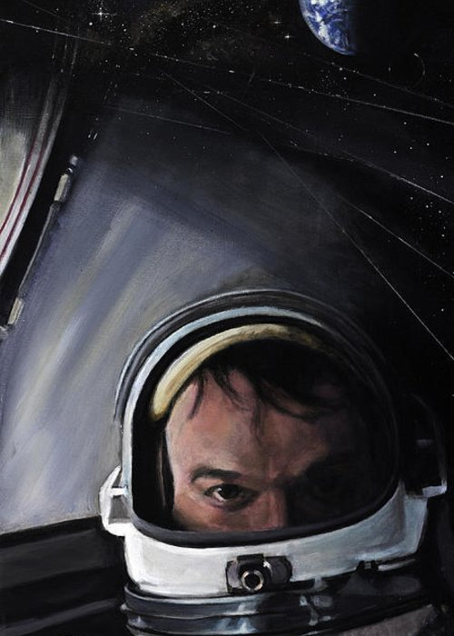 Nasa Greeting Card featuring the painting Gemini X- Michael Collins by Simon Kregar